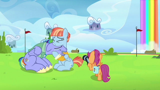 File:Scootaloo taking Bow and Windy's picture S7E7.png