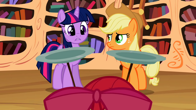 "File:Twilight and Applejack ""three cutie marks!"" S02E06.png"