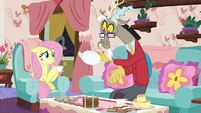 Discord about to refill Fluttershy's teacup S7E12