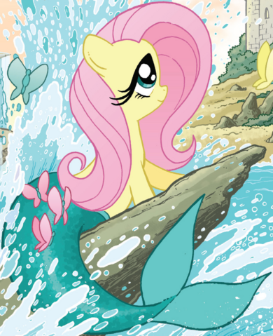 File:Micro-Series issue 4 Fluttershy as Ariel.png