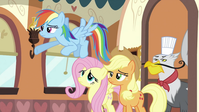 File:Rainbow Dash, Fluttershy, Applejack and griffon S2E24.png