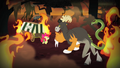 Apple Bloom and chimera surrounded by flames S4E17.png