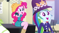 Pinkie and Dash amazed by Rarity ponying up EG3