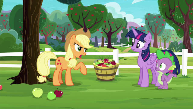"File:Applejack ""Pinkie Pie says it's Rarity's fault"" S6E22.png"