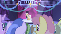 Mayor Mare addressing the ponies S1E01