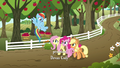 AJ, Rainbow, Fluttershy, and Pinkie on the farm S6E18.png