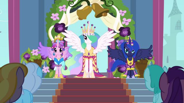 File:Celestia, Luna, and Cadance in coronation attire S03E13.png