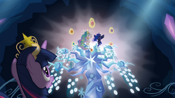Twilight looking at Celestia and Luna with the Elements of Harmony S4E02