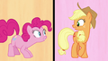 Pinkie and Applejack look at each other S7E14.png