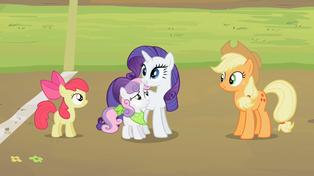 File:Sweetie Belle stands next to Rarity S2E05.png