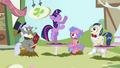 Ponies watching Twilight dance S3E13.png