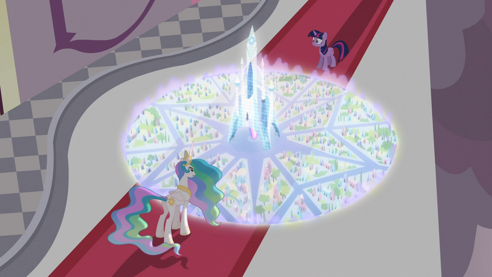 Princess Celestia shows Twilight how the Crystal Empire looks like S3E01.png