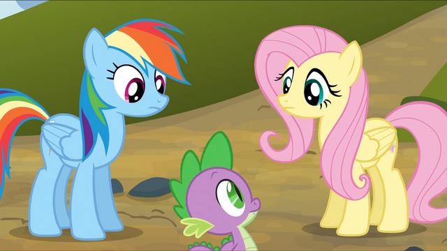 File:Rainbow Dash and Fluttershy look at Spike S3E9.png
