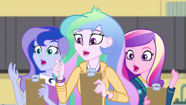 File:Celestia, Luna, and Cadance drop their forks EG3.png