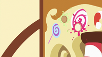 Cupcakes splat against the bakery's wall S7E3