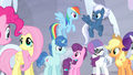 Mane Six and village ponies happy S5E02.png