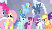 Mane Six and village ponies happy S5E02