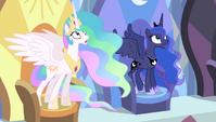 Celestia and Luna in shock S4E24