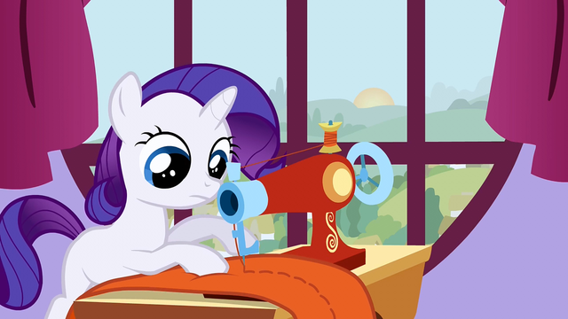 File:Filly Rarity working at a sewing machine S1E23.png