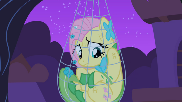 File:Fluttershy trapped in her trap close-up S1E26.png