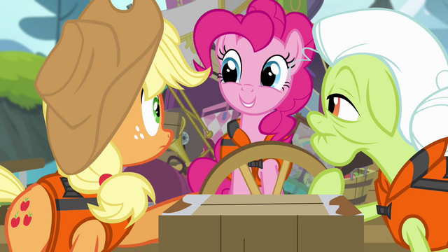 File:Pinkie Pie smiling at AJ and Granny Smith S4E09.png