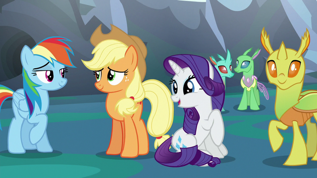 File:Rainbow, Applejack, Rarity, and changelings happy S6E26.png