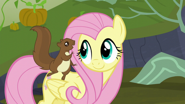 File:Squirrel squeaking in Fluttershy's ear S5E23.png