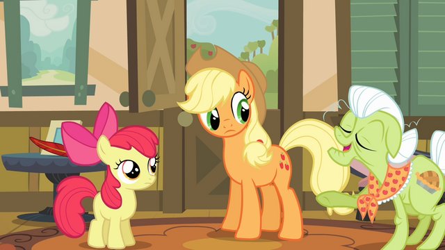 File:Applejack and Apple Bloom listening to Granny Smith S4E09.png
