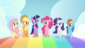 Mane six walking on a rainbow S7E2.png