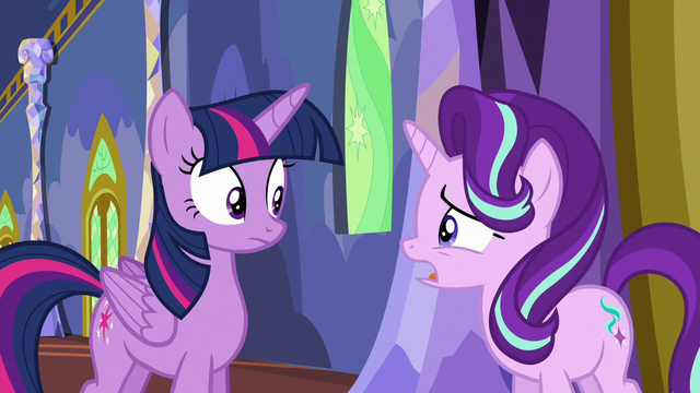 "File:Starlight Glimmer ""everypony's acting a little strange"" S6E25.png"