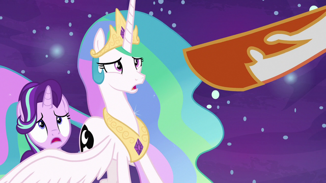 File:Daybreaker points her hoof at Princess Celestia S7E10.png