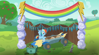 Rainbow Dash polishing the speed cart S6E14