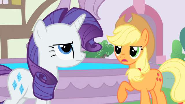 File:Applejack and Rarity next to the fountain S1E22.png