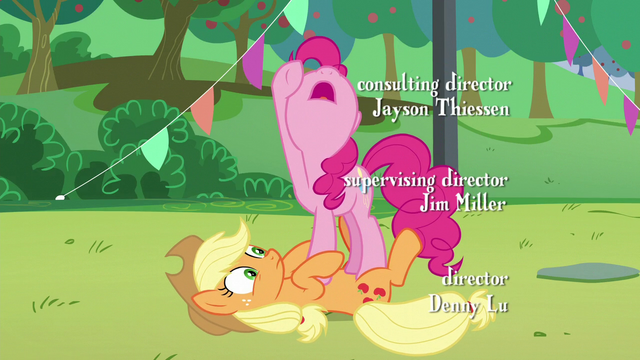 "File:Pinkie's last ""how""; Pinkie stands on Applejack S5E24.png"