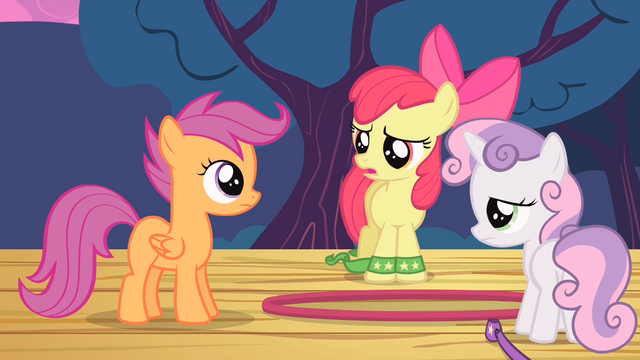 File:Apple Bloom and Sweetie Belle tired S4E05.png
