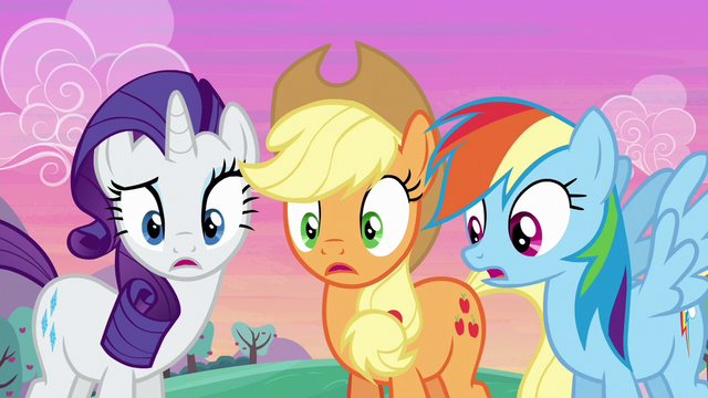 File:Rarity, Applejack, and Rainbow surprised S6E14.png