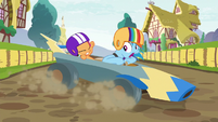Rainbow Dash losing control of the cart S6E14