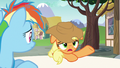 "Applejack ""shoved through the Super Speedy Cider Squeezy"" S6E21.png"