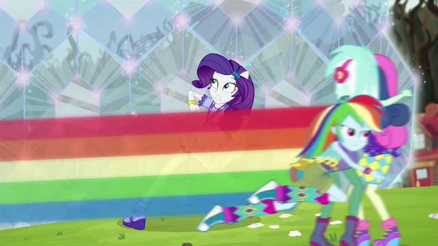 File:Rainbow Dash rescuing Lyra and Sweetie Drops EG4.png