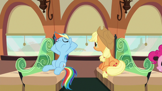 File:Rainbow and Applejack relaxing in their train car S6E18.png
