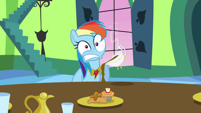 File:Rainbow Dash with hot gravy in her lap S03E10.png