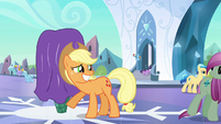 Applejack smiling at local pony S3E2