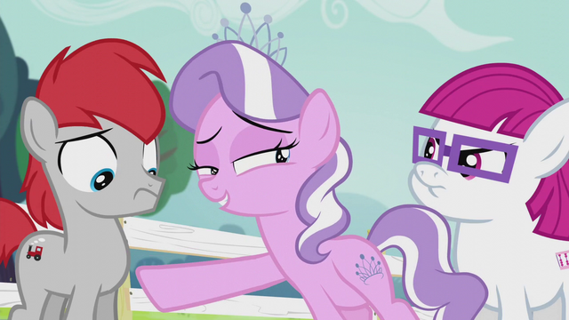 File:Diamond Tiara points at Train Tracks; looks at Little Red S5E18.png