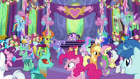 Twilight and Starlight hug surrounded by friends S7E1