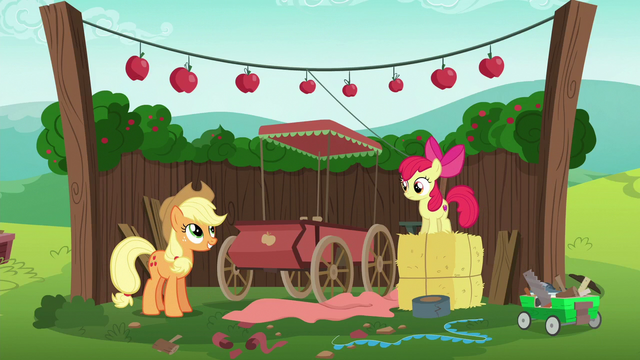 File:Applejack and Apple Bloom's traditional cart S6E14.png