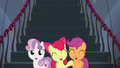Cutie Mark Crusaders cheer for Rainbow Dash S6E7.png