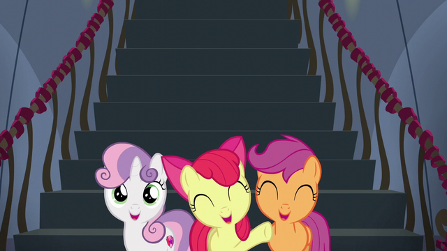 File:Cutie Mark Crusaders cheer for Rainbow Dash S6E7.png