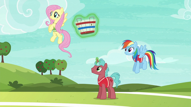 File:Fluttershy and first tryout unicorn ready to play S6E18.png