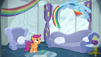 Rainbow Dash loops through the air S6E14