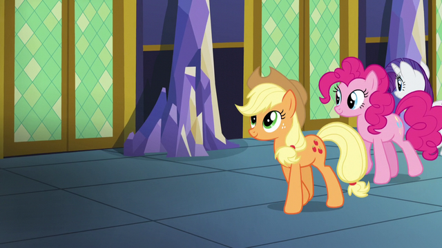 File:Applejack, Pinkie, and Rarity walking in the castle hallway S5E03.png